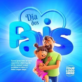 Dzień ojca szablon mediów społecznościowych ilustracja elementu 3d ojciec i córka przytulają się nawzajem