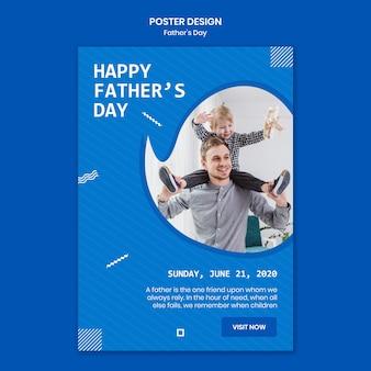 Dzień ojca z dzieckiem plakat szablon