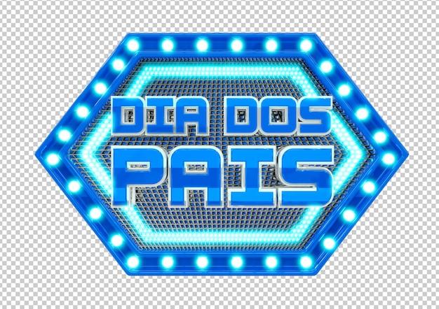 Dzień ojców litery światła pieczęć w języku portugalskim brazylijskim na białym tle