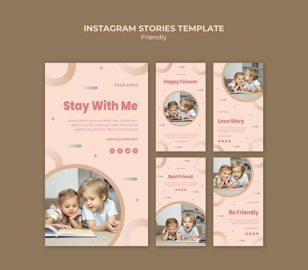 Dzień przyjaźni z historiami na instagramie dla dzieci