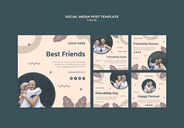 Dzień przyjaźni z postem w mediach społecznościowych młodych dorosłych