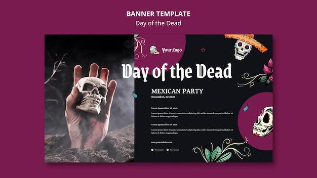 Dzień zmarłego szablonu banera reklamowego