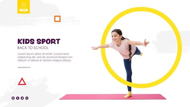 Dziewczyna równoważenia dla dzieci sport szablon