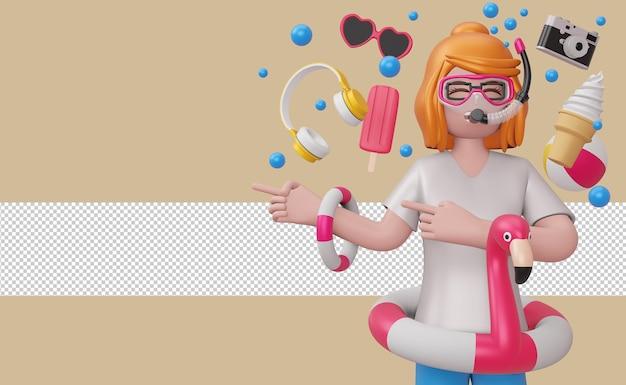 Dziewczyna w masce do nurkowania z flamingiem i akcesoriami plażowymi beach