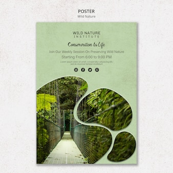 Dzika przyroda projekt szablonu plakatu