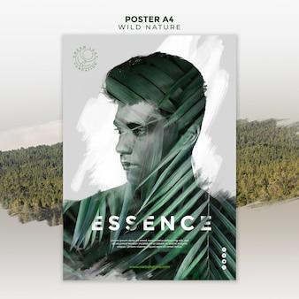 Dzika przyroda z człowiekiem między liśćmi plakat