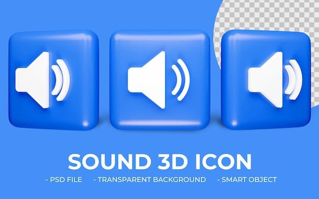 Dźwięk lub głośnik ikona renderowania 3d na białym tle