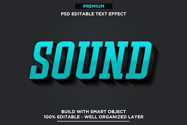 Dźwięk - szablon efektu czcionki 3d w stylu tekstu psd