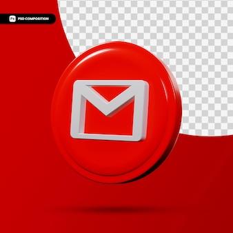 E-mail 3d renderowania aplikacji logo na białym tle