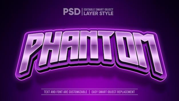 E-sport typografia logo purple phantom panther metallic edytowalny styl warstwy efekt tekstowy obiektu inteligentnego