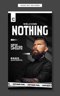 E-sportowa promocja nowego gracza szablon historii na instagramie w mediach społecznościowych