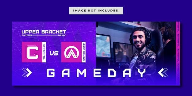 E-sportowy szablon banera mediów społecznościowych na mecz game