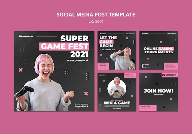 E-sportowy szablon projektu postów w mediach społecznościowych