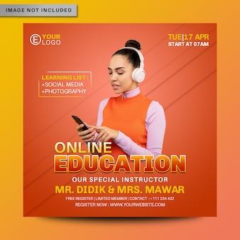Edukacja online media społecznościowe instagram post banner premium psd