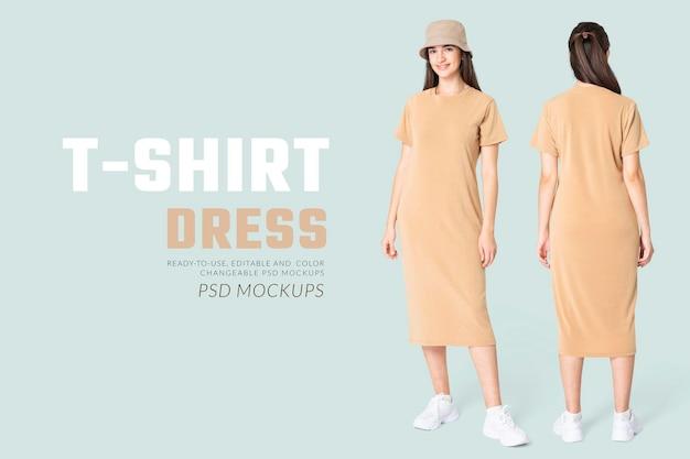 Edytowalna sukienka t-shirtowa makieta psd beżowa z wiaderkowym kapeluszem reklama odzieży damskiej na co dzień