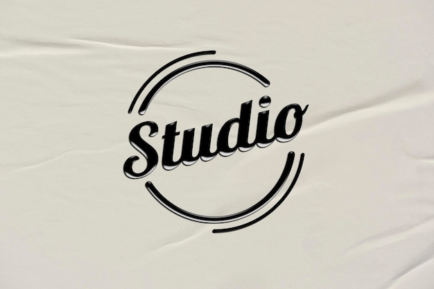 Edytowalne czarne logo firmy psd w stylu wytłoczonym