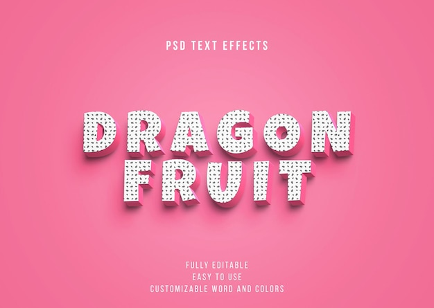 Edytowalne efekty tekstowe 3d dragon fruit