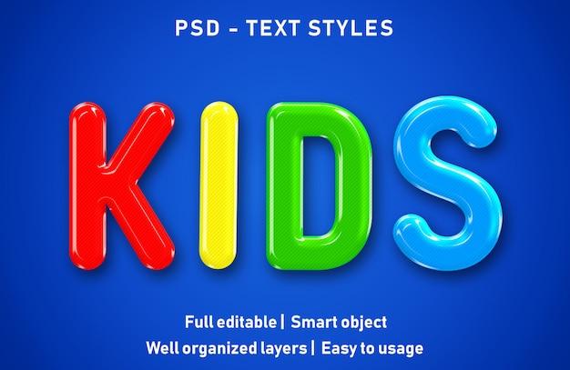 Edytowalne efekty tekstowe dla dzieci