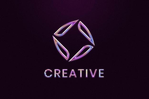 Edytowalne logo firmy chrome psd w stylu wytłoczonym