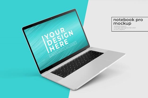 Edytowalne makiety przenośnych laptopów premium pro psd wzory s w lewo obrócona pozycja w widoku z lewej strony