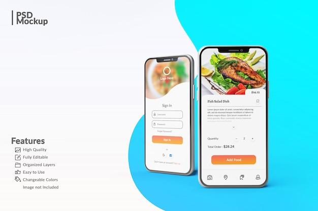 Edytowalne makiety smartfonów, aby wyświetlić szablon koncepcji aplikacji żywności