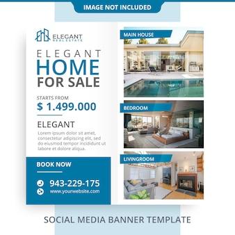 Edytowalne prosty minimalistyczny dom na sprzedaż nieruchomości baner promocje