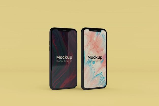 Edytowalne realistyczne dwa szablony projektów makiet ekranów mobilnych