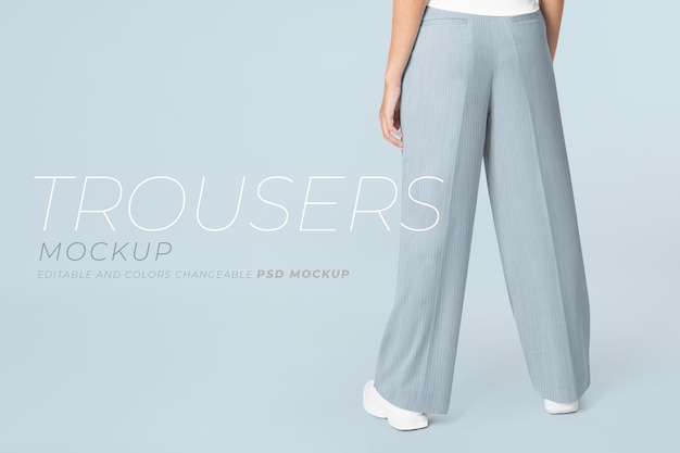 Edytowalne spodnie damskie makieta psd odzież na co dzień moda ad