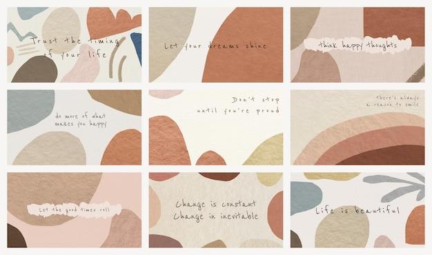 Edytowalne szablony banerów blogowych psd abstrakcyjny projekt w tonie ziemi z motywacyjnymi cytatami