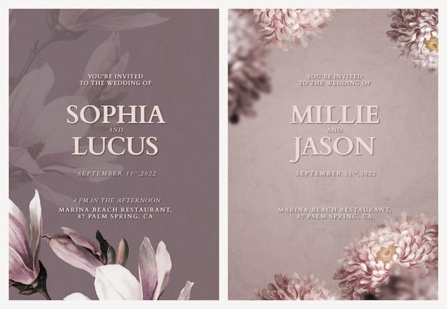 Edytowalne szablony kart psd kwiatowy zaproszenie na ślub