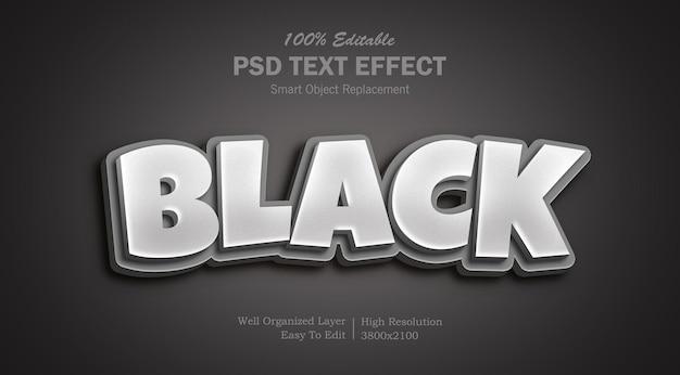 Edytowalny czarny kolor photoshop 3d efekt tekstowy