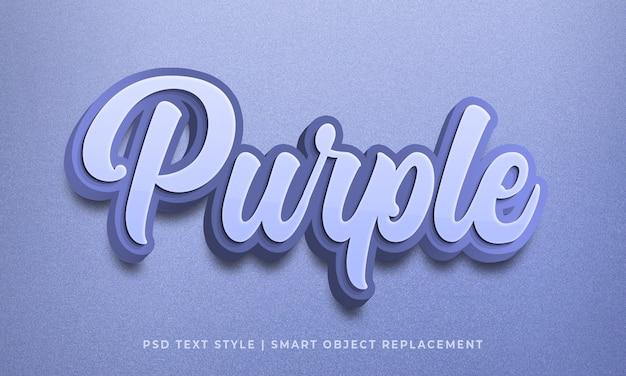 Edytowalny efekt psd w stylu tekstu 3d w kolorze fioletowym