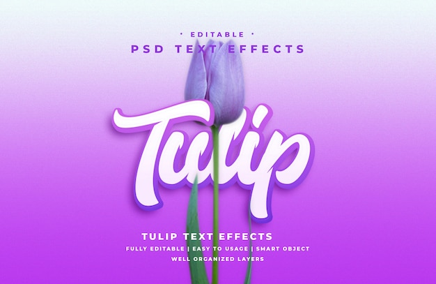 Edytowalny efekt stylu tekstu tulipan 3d