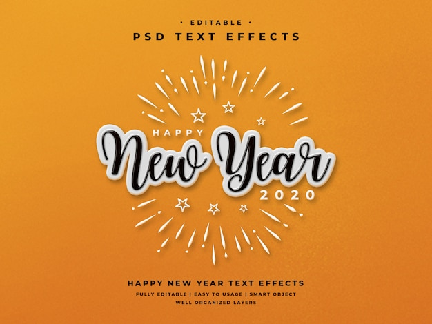 Edytowalny efekt stylu tekstu w nowym roku 2020