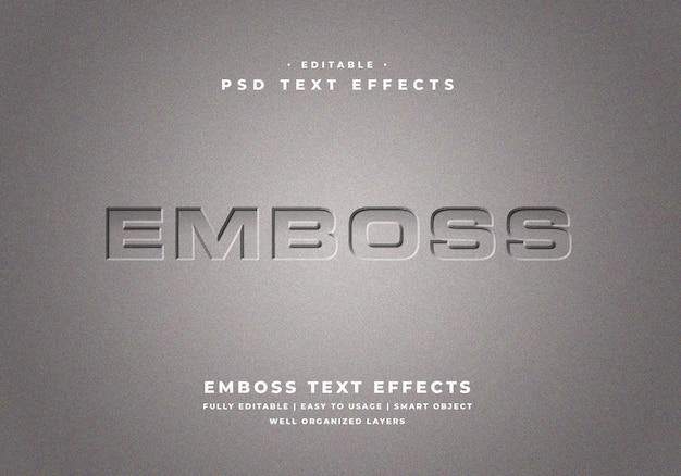 Edytowalny efekt stylu tłoczonego tekstu