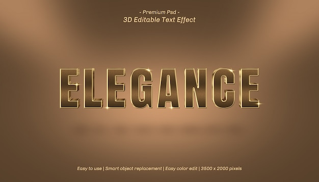 Edytowalny efekt tekstowy 3d elegance