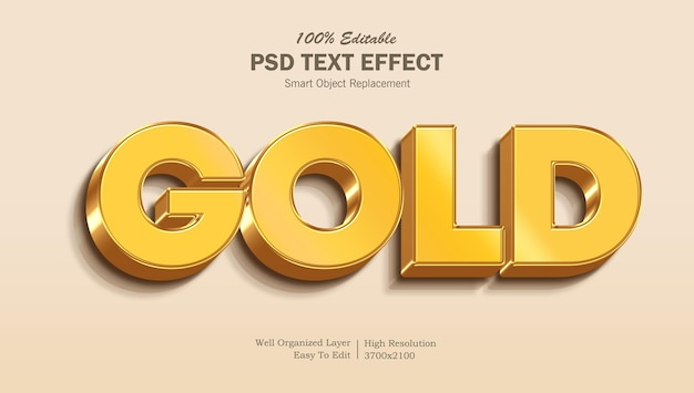 Edytowalny efekt tekstowy 3d gold