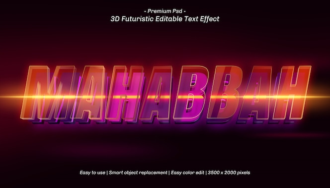 edytowalny efekt tekstowy 3d mahabbah