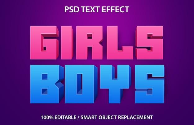 Edytowalny efekt tekstowy girls boys