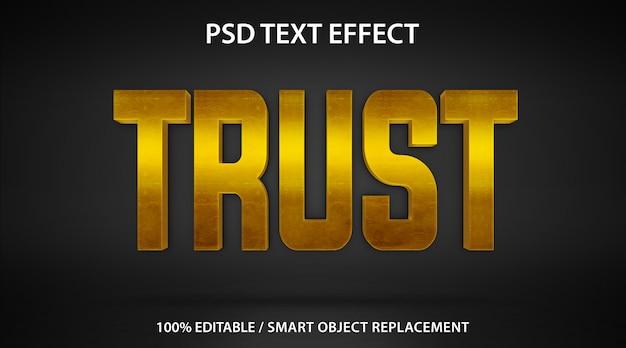 Edytowalny efekt tekstowy gold trust premium
