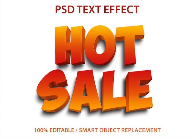 Edytowalny efekt tekstowy gorąca wyprzedaż