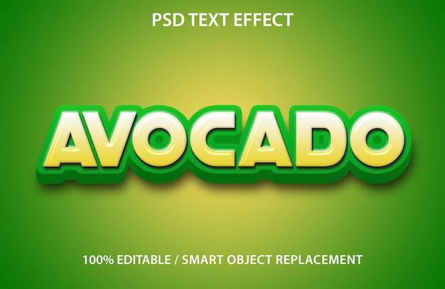 Edytowalny efekt tekstowy owoc awokado premium