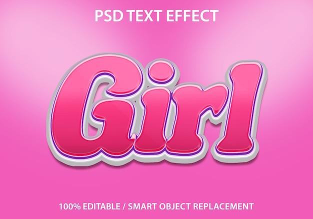 Edytowalny efekt tekstowy pink girl premium