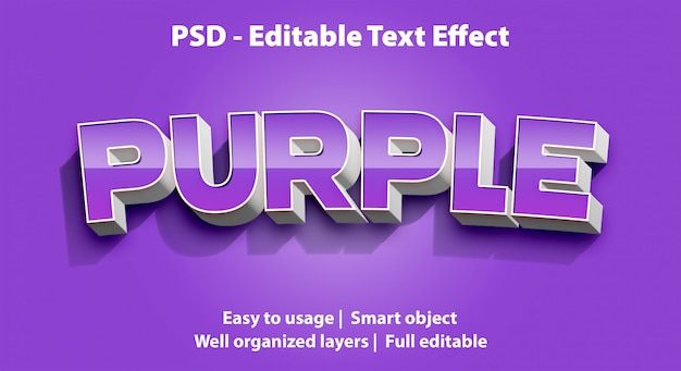 Edytowalny efekt tekstowy purple premium