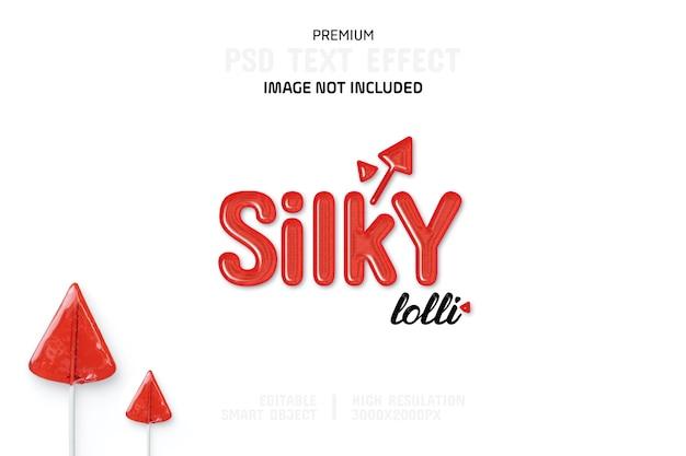 Edytowalny efekt tekstowy silky lollipop