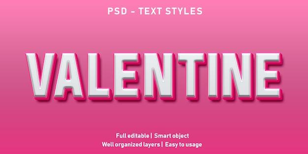 Edytowalny efekt tekstowy valentine premium
