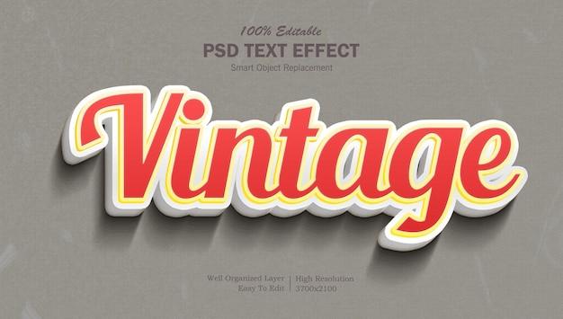 Edytowalny efekt tekstowy w stylu vintage w kolorze czerwonym