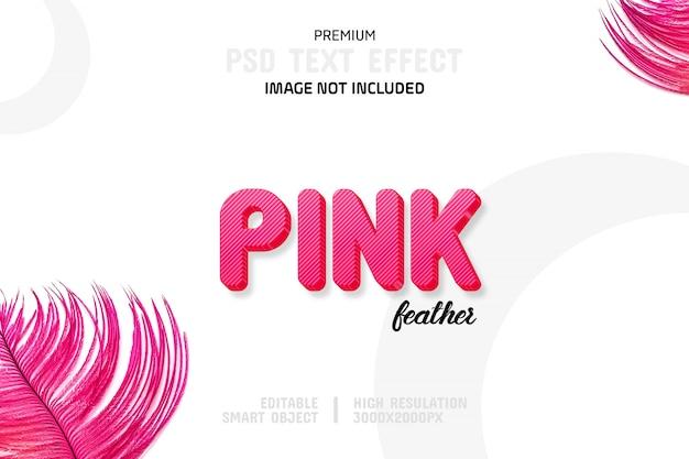 Edytowalny efekt tekstowy z różowymi piórkami