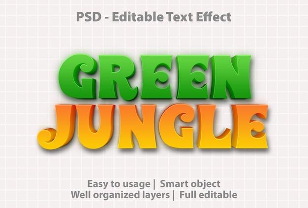Edytowalny efekt tekstowy zielona dżungla