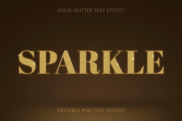 Edytowalny efekt tekstowy złoty brokat psd